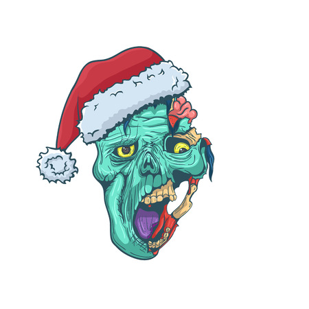 Hand Drawn Zombie Face with Santa Hat. Vector illustration
