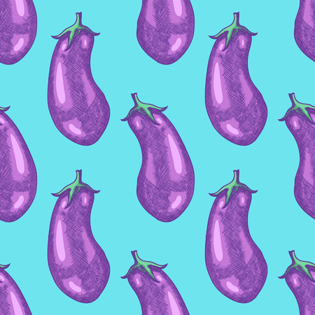 Hand Drawn Eggplant Sketch Seamless Pattern Background. Vector illustration Vectores
