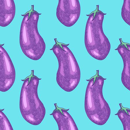 Hand Drawn Eggplant Sketch Seamless Pattern Background. Vector illustration Vettoriali