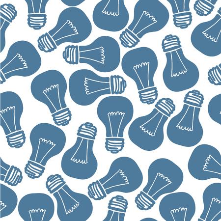 Hand Drawn Light Bulb Seamless Pattern. Vector illustration