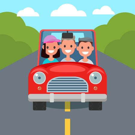 Personaggi di guida di auto design piatto. Condividere l'auto. illustrazione vettoriale Vettoriali