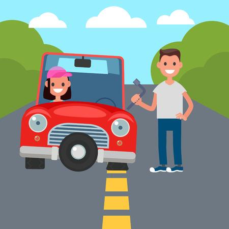 Flat Design Car Driving Characters. Car sharing. flat tire change. Vector illustration
