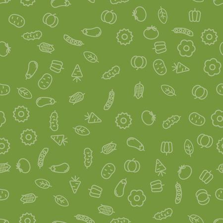 Simple Vegetables Icon Seamless Pattern. Vector illustration Illustration