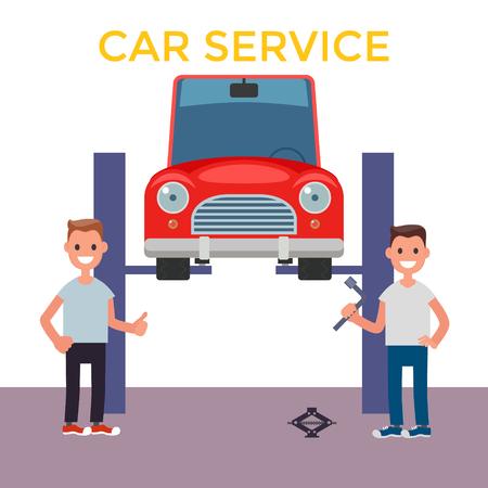Flat design Car Service. Car on a Lift. Vector illustration Illustration