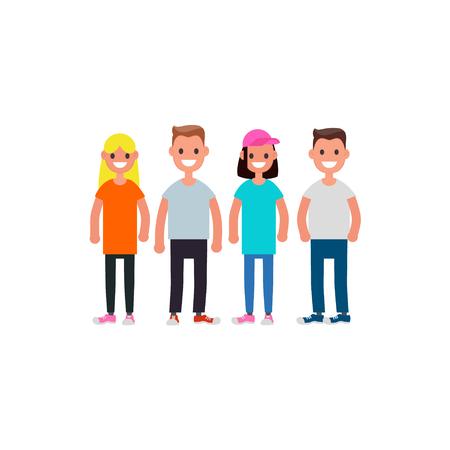 Flat design Characters team. Modern society concept. Vector illustration Illustration