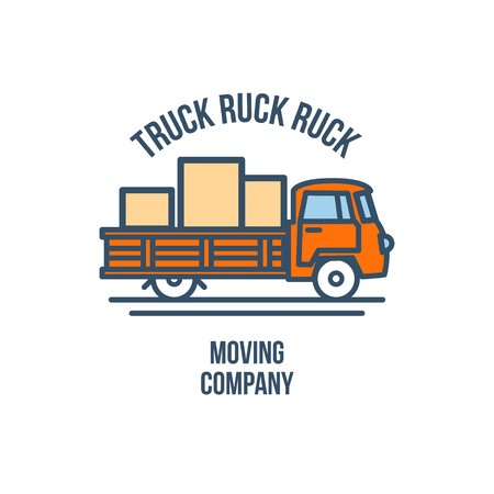 Truck with Cargo. Moving Company Logo. Vector Illustration