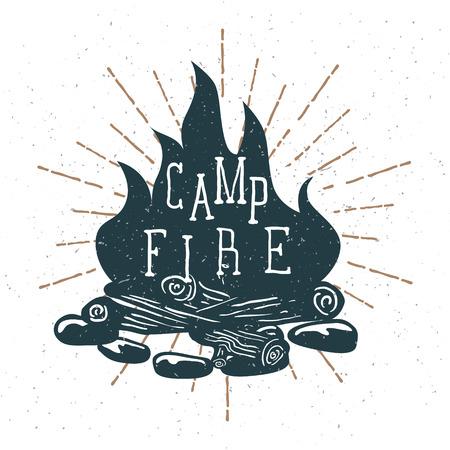 Hand Drawn Campfire with Vintage Sunburst. Vector Stock Photo