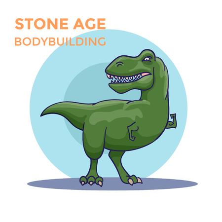 Hand Drawn Cartoon Tyrannosaur shows his biceps. Vector