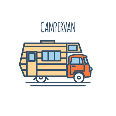 Campervan Thin Line Flat design. Vector illustration