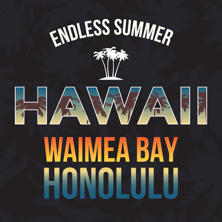 Hawaii beach tee print with palm tree. T-shirt design graphics stamp label typography. Vector Illustration