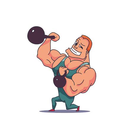 Cartoon Character Muscle man with Kettlebells. Vector illustration