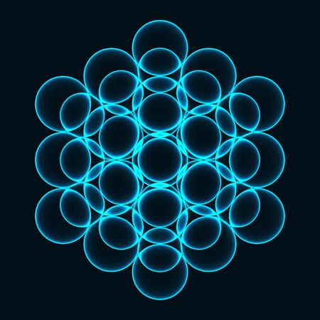 Flower of Life. Sacred Geometry. Symbol of Harmony and Balance. Vector