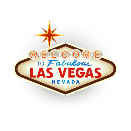 Classic retro Welcome to Las Vegas sign. Vector Illustration