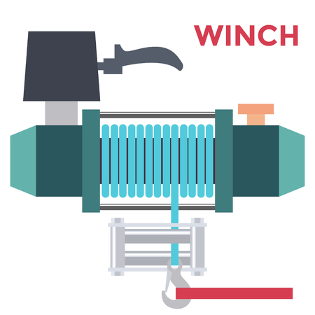 Colorful Flat Design Offroad Winch. Vector Stock Photo