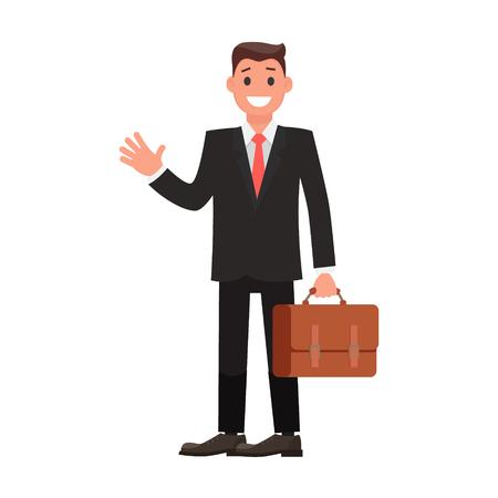 Flacher Design-Charakter-Geschäftsmann mit Aktenkoffer. Vektor-Illustration
