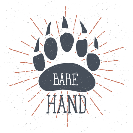 Bear Claw. Bear Footprint with Lettering hand. Illustration