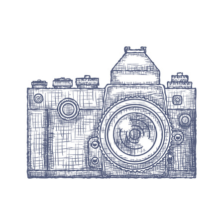 Vintage Old Photo Camera Hand Drawn design template.