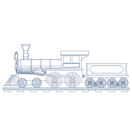 Vintage Steam Train Engrave Illustration.