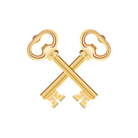 Crossed Golden Keys isolated on white Background.
