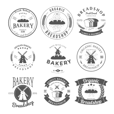 Set of Nine Bakery Label and Badges Design Templates.