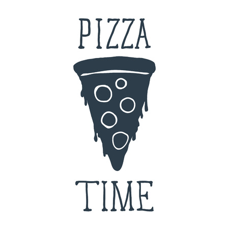 Hand drawn pizza slice with Pizza Time lettering. Vector illustration