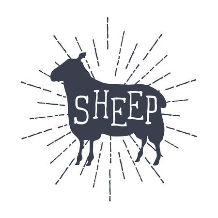 Farm animals icons. silhouette of sheep.