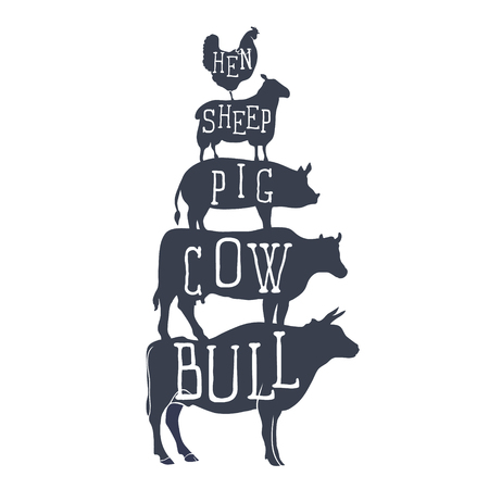 Farm animals icons. silhouette of chicken, sheep, cow and bull.