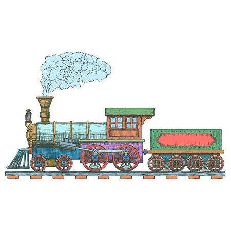 Plantilla de diseño de locomotora de vapor vintage. icono de tren o transporte.