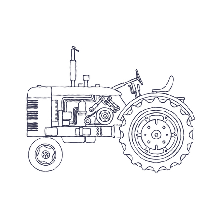 Vintage agricultural tractor isolated on white vackground. Vector illustration