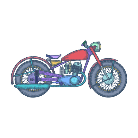 Hand Drawn Vintage Motorcycle design template.