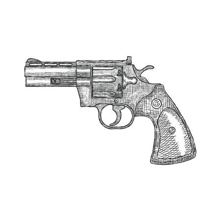 Hand Drawn Vintage Revolver Gun.