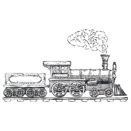 Vintage Steam locomotive design template. train or transport icon.