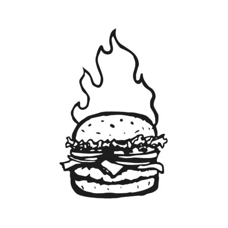 Burger Hand Drawn with Fire Flame. Vector Archivio Fotografico - 133234067