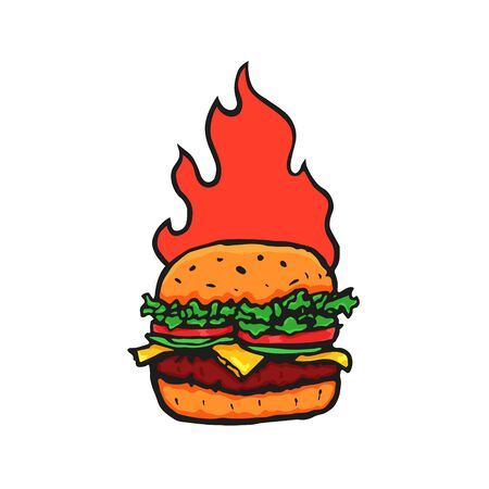Burger Hand Drawn with Fire Flame. Vector Archivio Fotografico - 133234068