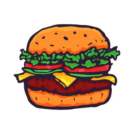 Burger Hand Drawn Fast Food. Vector Archivio Fotografico - 133234355