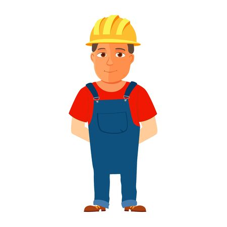Happy cartoon repairman or construction worker with safety hat. Vector Ilustracja