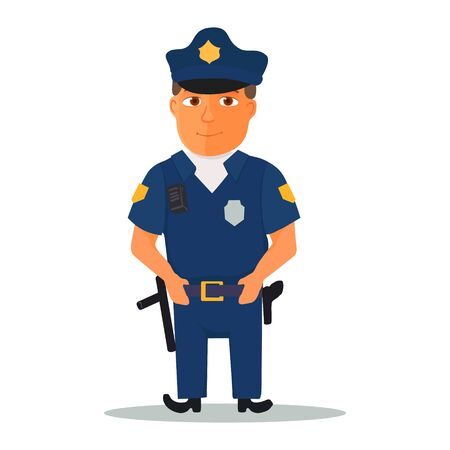 Cartoon policeman character on white background. Vector Illusztráció