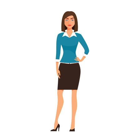 Cartoon business Woman Character isolated on white Background. Vector