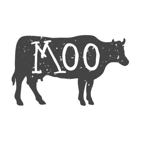 Cow Silhouette with Moo Text. Vector
