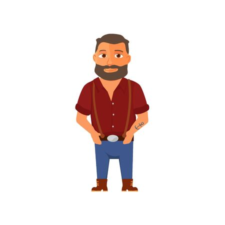Cartoon hipster character with beard. Vector Ilustracja
