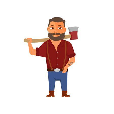 Personaje de leñador de dibujos animados con hacha. Vector