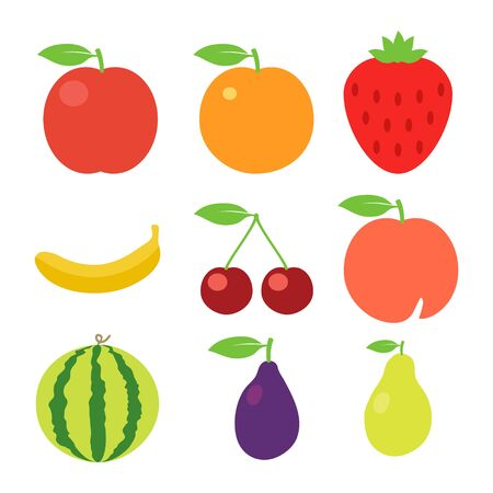 Fruits icons set. Vector