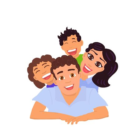 Happy family dad, mom, daughter and son. Vector Ilustracja