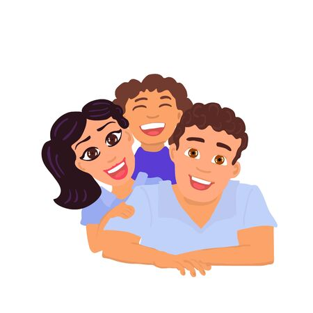Happy family father, mom and daughter. Vector