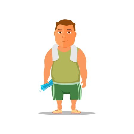 Cartoon guy after work out, with towel and water bottle. Vector