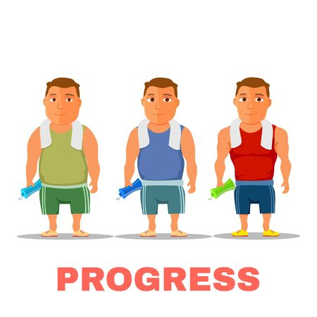 Cartoon guy fit progress, after work out, with towel and water bottle. Vector Ilustracja