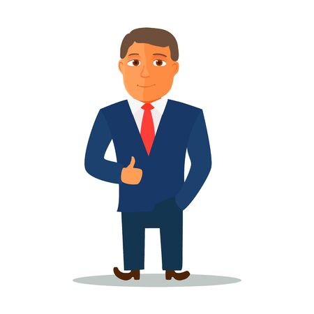 Businessman Cartoon Character in Blue Suit. Vector Ilustracja