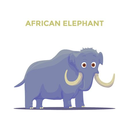 Cartoon African Elephant on White background. Vector