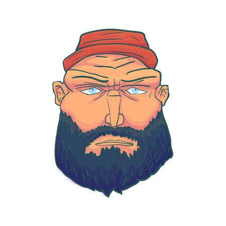 Cartoon Brutal Man Face with Beard and Red Hat. Vector