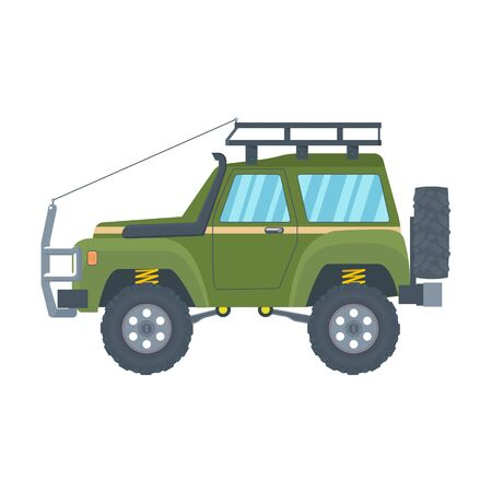 Offroad Vehicle with mud tire and roof rack. Vector Banque d'images - 133234344